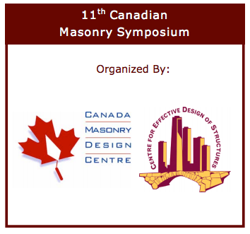 11th Canadian Masonry Symposium – FINAL CALL FOR PAPERS