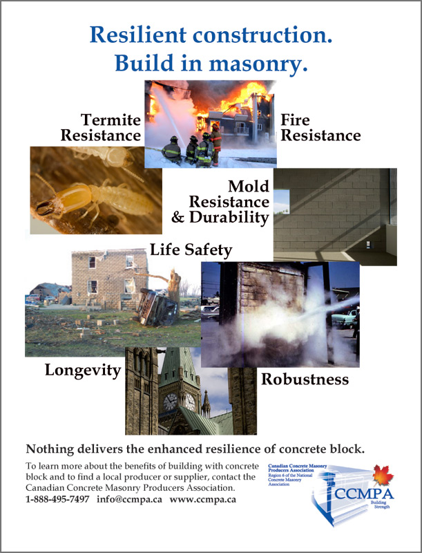 Resilient construction. Build in masonry.