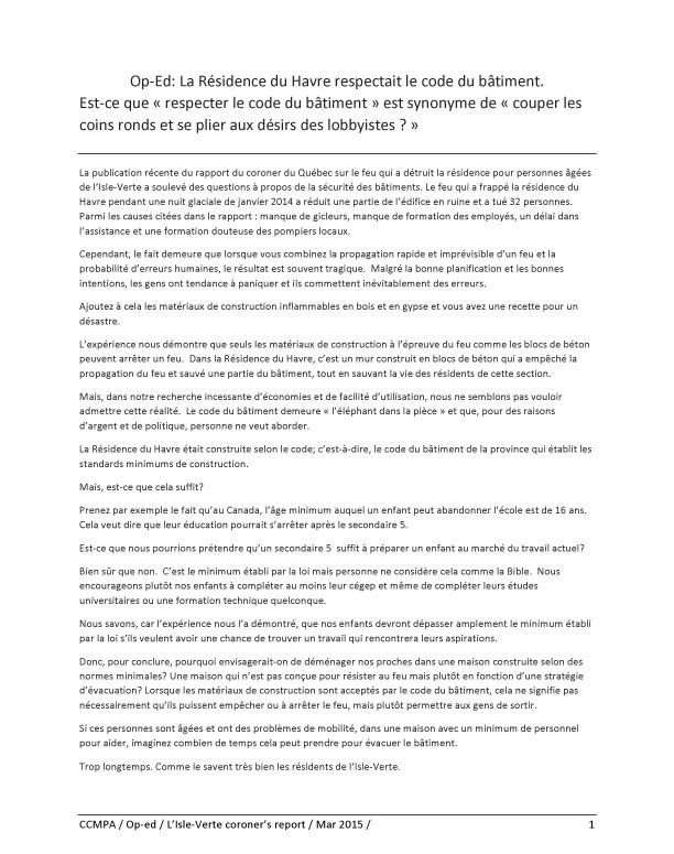 Op-Ed: La Résidence du Havre respectait le code du bâtiment